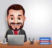 Berufsgeschäftsmann-Vektor-Charakter-beschäftigtes Arbeiten im Schreibtisch stock abbildung