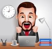 Berufsgeschäftsmann-Vektor-Charakter mit dem entsetzten und überraschten Ausdruck, der im Schreibtisch arbeitet lizenzfreie abbildung