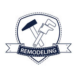 Berufshaus, das Logo umgestaltet Schattenbild von Werkzeugen für Reparatur im Blau Stockbilder