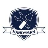 Berufsheimwerker hält Logo instand Schattenbild von Werkzeugen für Reparatur im Blau Stockfotos