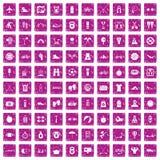 100 Berufslebenikonen stellten Schmutzrosa ein vektor abbildung