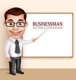 Berufslehrer Man oder Professor Vector Character Teaching Lizenzfreies Stockbild