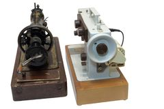 Berufsnähmaschinen, mechanisch und elektrisch stockfotografie