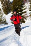 Berufsphotograph in der Winterlandschaft Stockbilder
