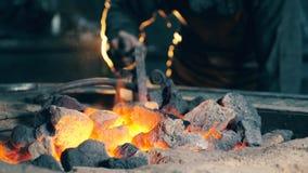 Berufsschmied überprüft Kohle auf Feuer beim Arbeiten an der Schmiede stock video footage