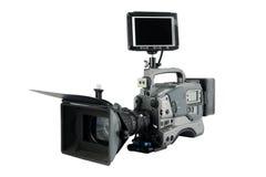 BerufsVideokamera mit dem Überwachungsgerät, das zu gegenüberstellt Stockfotografie