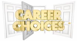 Berufswahlen neuer Job Open Doors Words Lizenzfreie Stockfotografie