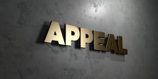 Berufung - Goldzeichen angebracht an der glatten Marmorwand - 3D übertrug freie Illustration der Abgabe auf Lager lizenzfreie abbildung