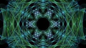 Beruhigende lebhaftMandala des grünen und blauen Fractal, Videotunnel auf schwarzem Hintergrund Lebhafte symmetrische Muster für  lizenzfreie abbildung
