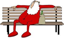 Berusad jultomten på en parkerabänk royaltyfri illustrationer