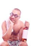 Berusad nerdgrabb i glasögon royaltyfria foton