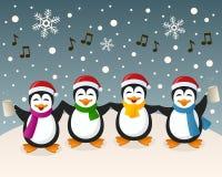 Berusade pingvin som sjunger på snön stock illustrationer