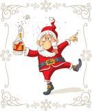 Berusade Santa Dancing Vector Cartoon Royaltyfri Bild