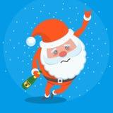 Berusat bedrövligt trött Santa Claus vektortecken vektor illustrationer
