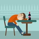Berusat mansammanträde faller sovande på tabellen med en flaska av öl inom baren Över drinkbegrepp stock illustrationer