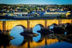 Berwick Bridge, also known as the Old Bridge, spans the River Tweed in Berwick-upon-Tweed, Northumberland, England Stock Photos