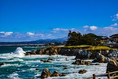 Berwick Park. Pacific Grove, California - USA; February 20, 2018; Located between Monterey and Pebble Beach, visitors and residents to Pacific Grove enjoy Royalty Free Stock Photos
