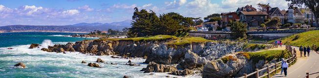 Berwick Park. Pacific Grove, California - USA; February 20, 2018; Located between Monterey and Pebble Beach, visitors and residents to Pacific Grove enjoy Royalty Free Stock Images