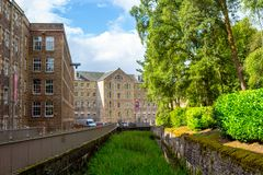 View of New Lanark Heritage Site, Lanarkshire in Scotland, United Kingdom, Europe. Royalty Free Stock Photo