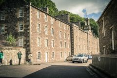 View of New Lanark Heritage Site, Lanarkshire in Scotland, United Kingdom. Europe Stock Image