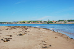 Berwick upon Tweed, river estuary, sand and city walls Royalty Free Stock Photo
