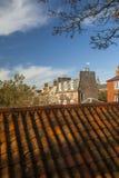 Berwick upon Tweed Rooftops. Berwick upon Tweed, in Northumberland, England,looking over pan tile rooftops towards the Georgian houses inside the town walls Stock Photography