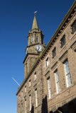 Berwick upon Tweed town hall clock. The clock tower of the town hall in Berwick upon Tweed, Northumberland, England. Begun in 1750, this building stands at the Stock Photography