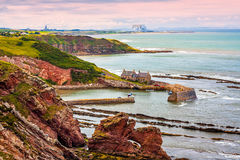 Berwickshire Coastal Path, view on the Cove Bay, Scotland, UK Stock Image