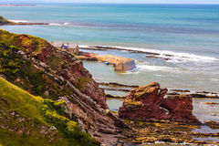 Berwickshire Coastal Path, view on the Cove Bay, Scotland, UK Royalty Free Stock Image