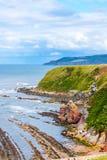 Berwickshire Coastal Path, view on the Cove Bay, Scotland, UK Stock Photos