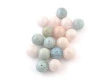 Beryl crystal mineral gem beads sample on white background Stock Photo
