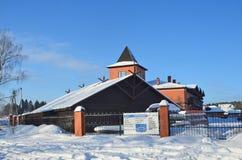 Beryozovo村庄,Priozersky区,列宁格勒地区,俄罗斯,2018年2月,23日 旅游复合体'推进公园拉多加' 免版税库存照片