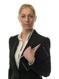 Überzeugte Geschäftsfrau mit persönlichem Organisator Stockbild