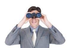 Überzeugter Geschäftsmann, der zur Zukunft schaut Stockfoto