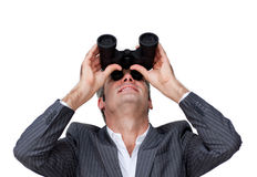 Überzeugter Geschäftsmann, der zur Zukunft schaut Stockbilder