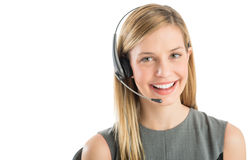Überzeugter Kundendienstmitarbeiter Wearing Headset Stockfotografie