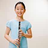 Überzeugter Musikerholding Clarinet Stockfotografie