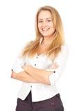 Überzeugtes Geschäftsfraulächeln Stockfoto