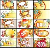 besök för försäljning för annonseringskort set Arkivbilder