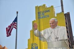 Besök för påve Francis till USA 2015 Arkivbild