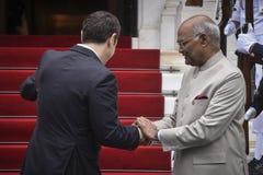 Besök för president Ram Nath Kovind för Indien ` s i Grekland royaltyfria bilder