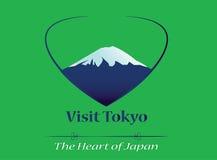 Besök Tokyo - hjärtan av det Japan banret, logo, symbol Vektorillustration EPS 10, grön bakgrund Stort berg, turismmotto royaltyfri illustrationer
