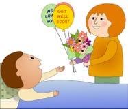 Besöka en sjuk person royaltyfri illustrationer