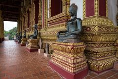 Besöka hagtorn Phra Kaew, också som är skriftlig som Ho Prakeo i Vientiane, Laos royaltyfri fotografi