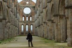 Besökare i den San Galgano abbeyen Arkivfoto