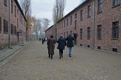 Besökare till det tidigare koncentrations- och utrotninglägret Auschwitz-Birkenau i Polen Fotografering för Bildbyråer