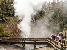 Besökare till Yellowstonen parkerar den hållande ögonen på geyseren från strandpromenad Arkivfoto