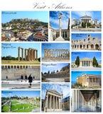 BesökAtenGrekland collage arkivbild
