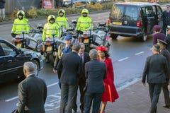 Besöket av det Ligia Dias Fonseca Leaving The Van Gogh för fru för Kap Verdepresident Jorge Carlos De Almeida Fonseca And His mus royaltyfria foton