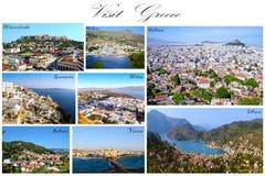 BesökGrekland collage - grekisk flygfotografering royaltyfri foto
